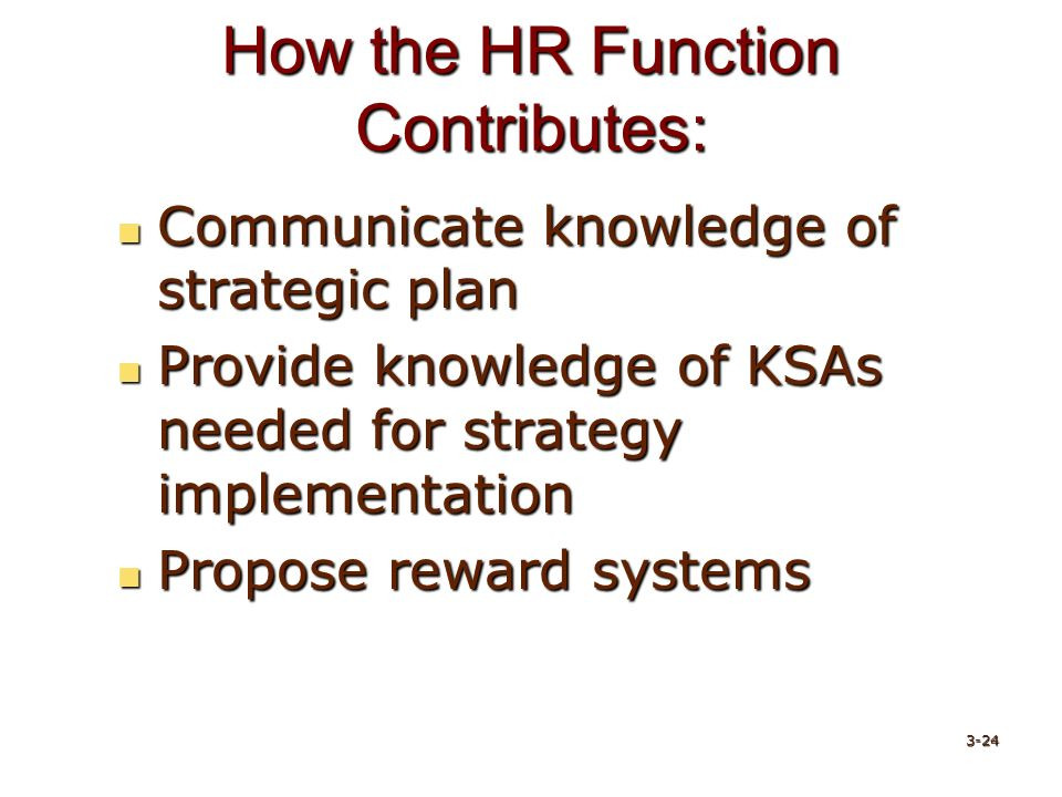 How the HR Function Contributes: Communicate knowledge of strategic plan Communicate knowledge of strategic plan Provide knowledge of KSAs needed for strategy implementation Provide knowledge of KSAs needed for strategy implementation Propose reward systems Propose reward systems 3-24