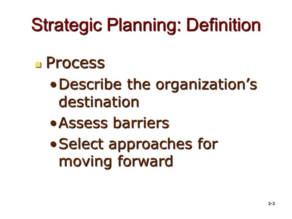 Strategic Planning: Definition Process Process Describe the organization's destinationDescribe the organization's destination Assess barriersAssess barriers Select approaches for moving forwardSelect approaches for moving forward 3-3