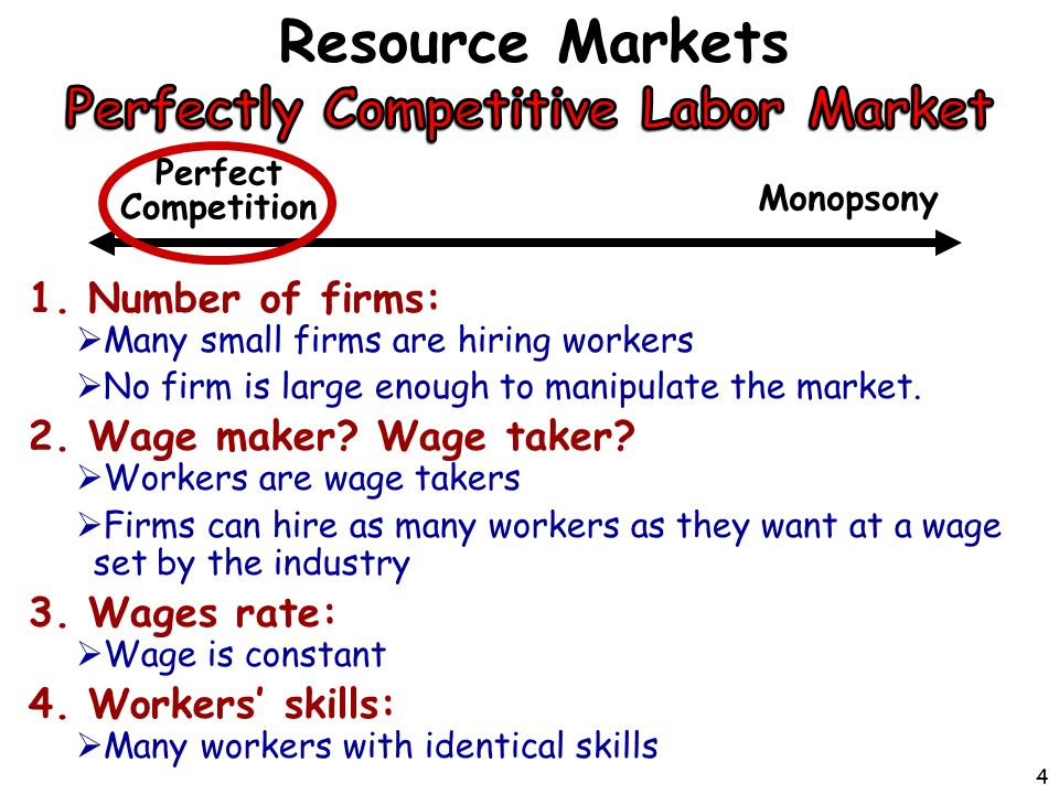 1.Number of firms:  Many small firms are hiring workers  No firm is large enough to manipulate the market.