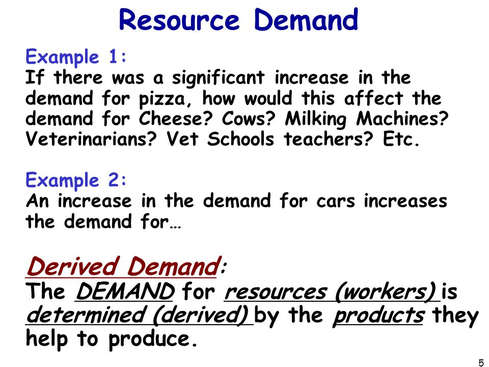 Resource Demand Example 1: If there was a significant increase in the demand for pizza, how would this affect the demand for Cheese.