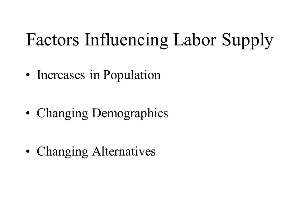 Factors Influencing Labor Supply Increases in Population Changing Demographics Changing Alternatives