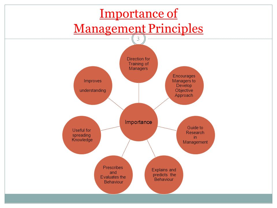 Importance of Management Principles Importance Direction for Training of Managers Encourages Managers to Develop Objective Approach Guide to Research in Management Explains and predicts the Behaviour Prescribes and Evaluates the Behaviour Useful for spreading Knowledge Improves understanding 3