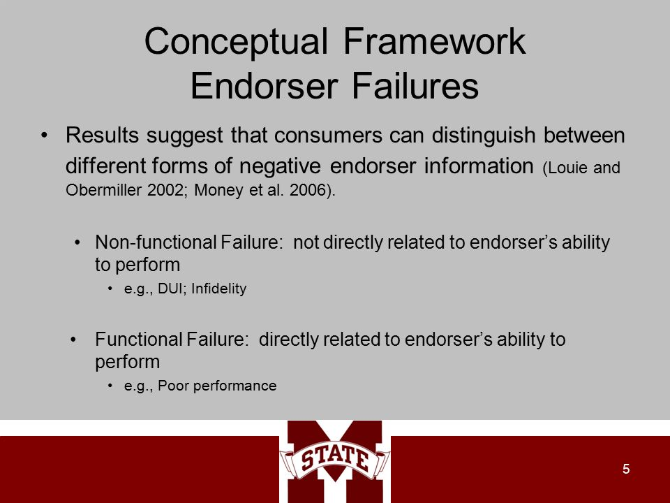 Conceptual Framework Endorser Failures Results suggest that consumers can distinguish between different forms of negative endorser information (Louie and Obermiller 2002; Money et al.