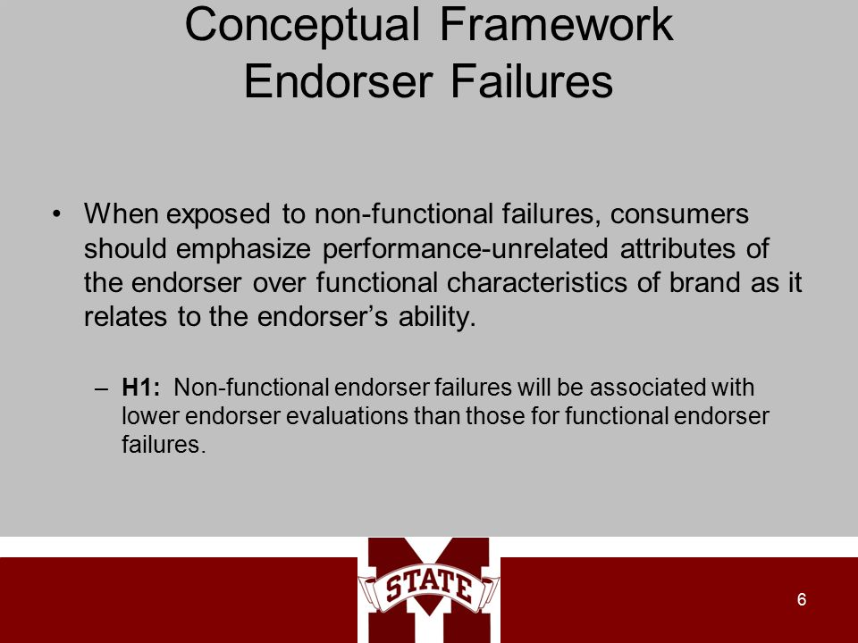 Conceptual Framework Endorser Failures When exposed to non-functional failures, consumers should emphasize performance-unrelated attributes of the endorser over functional characteristics of brand as it relates to the endorser's ability.
