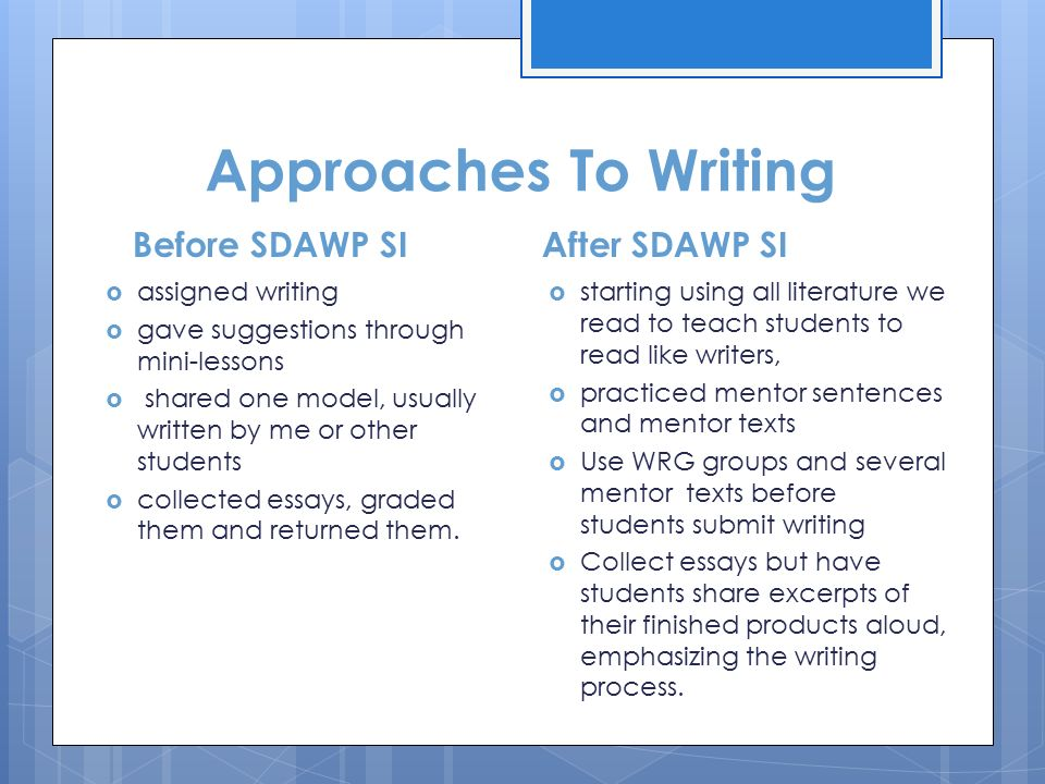 approaches writing essay Writing an approach paper several times this school year, you will be asked to write an approach paper concerning novels read in class this web page explains the assignment and offers a sample approach on a novel everyone read as sophomores, to kill a mockingbirdplease type your approach paper using one inch margins, 11 or 12.