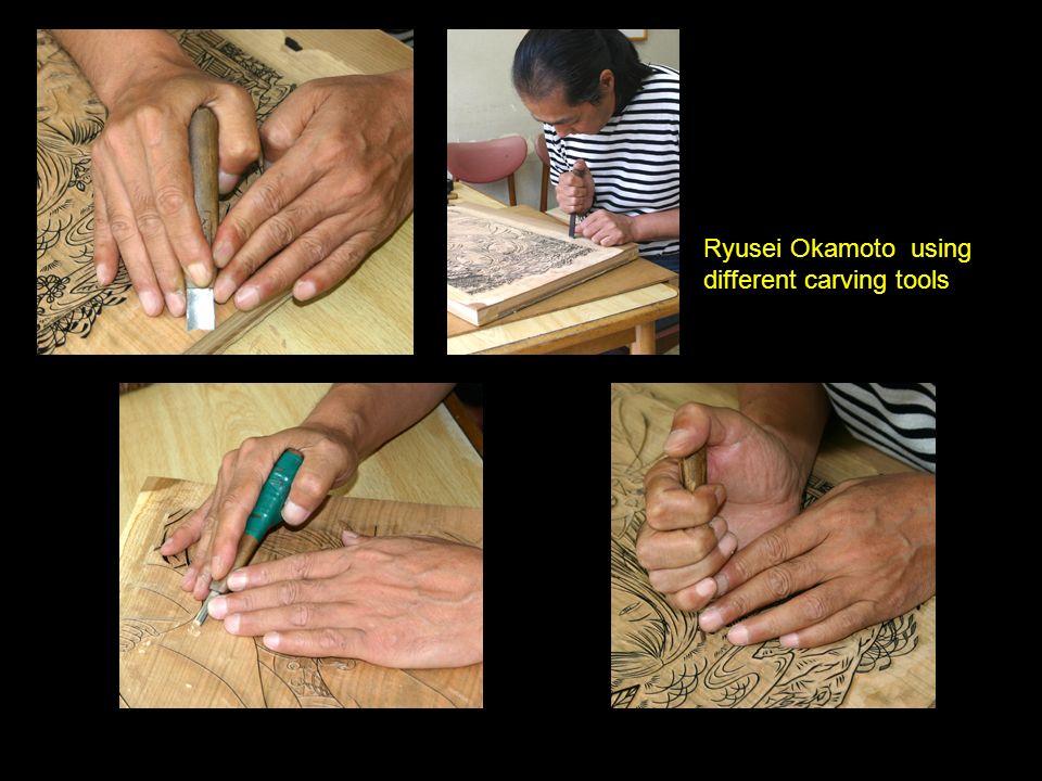 Ryusei Okamoto using different carving tools