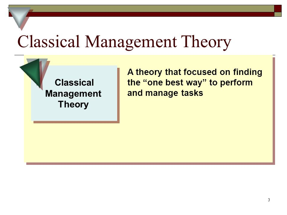 3 Classical Management Theory Classical Management Theory Classical Management Theory A theory that focused on finding the one best way to perform and manage tasks