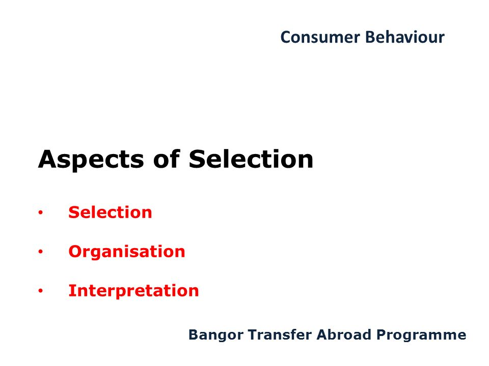 Consumer Behaviour Bangor Transfer Abroad Programme Aspects of Selection Selection Organisation Interpretation