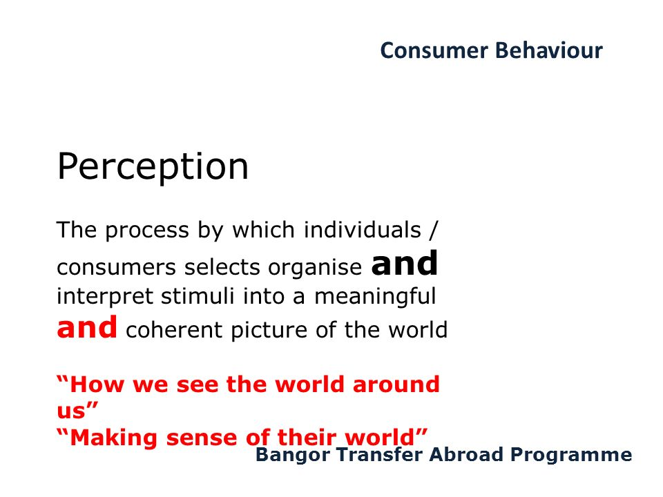 Consumer Behaviour Bangor Transfer Abroad Programme The process by which individuals / consumers selects organise and interpret stimuli into a meaningful and coherent picture of the world How we see the world around us Making sense of their world Perception
