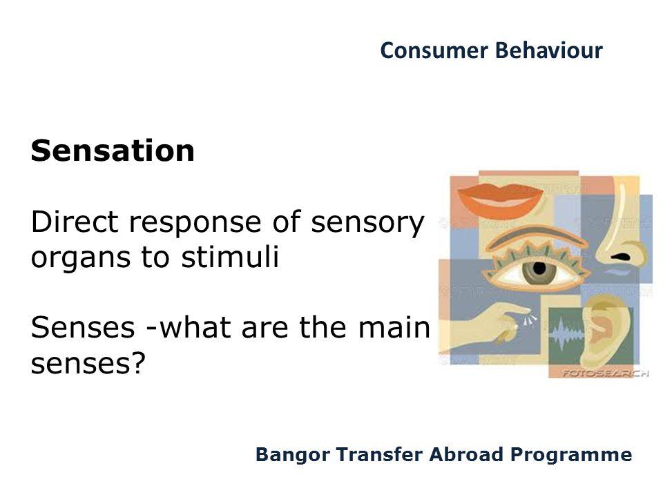 Consumer Behaviour Bangor Transfer Abroad Programme Sensation Direct response of sensory organs to stimuli Senses -what are the main senses