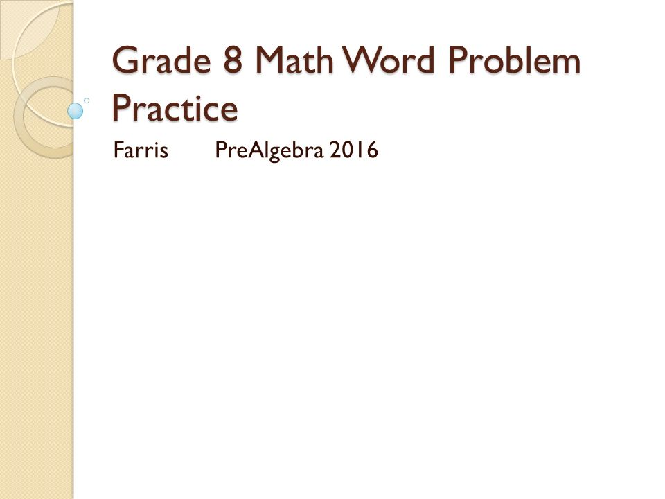 Math worksheets for grade 8 pre algebra
