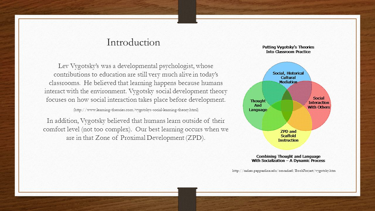 vygotskys social development theory education essay Lev vygotsky born november 17 the founder of an unfinished theory of human cultural and bio-social development the period of major revision of vygotsky's.