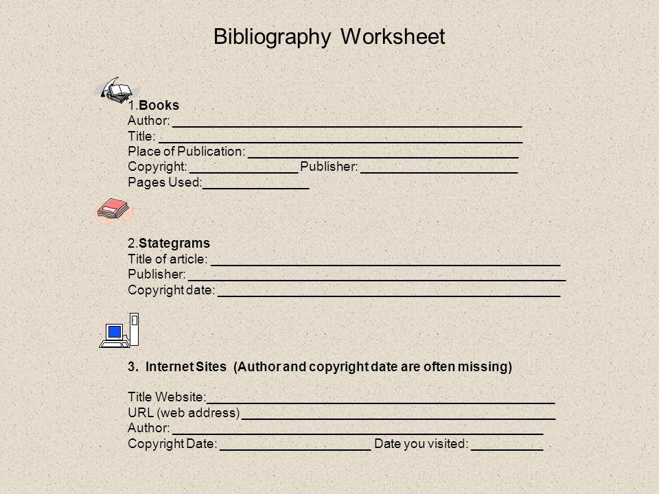 States Project for 5 th Grade Created by Mrs Chong ppt download – Bibliography Worksheet