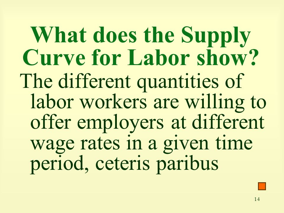 14 What does the Supply Curve for Labor show.