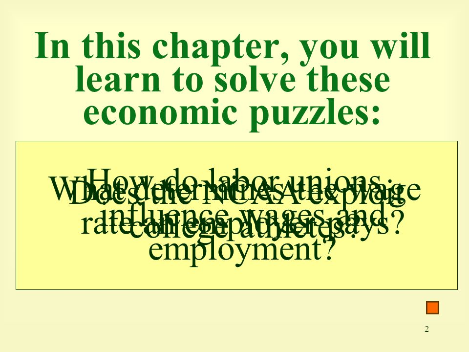 2 In this chapter, you will learn to solve these economic puzzles: What determines the wage rate an employer pays.