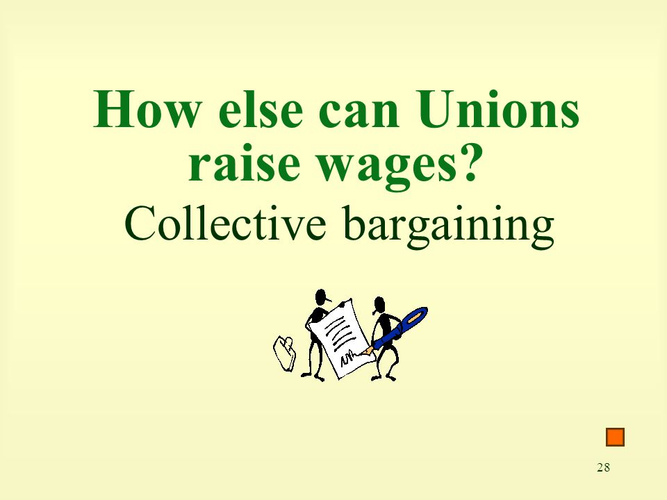 28 How else can Unions raise wages Collective bargaining