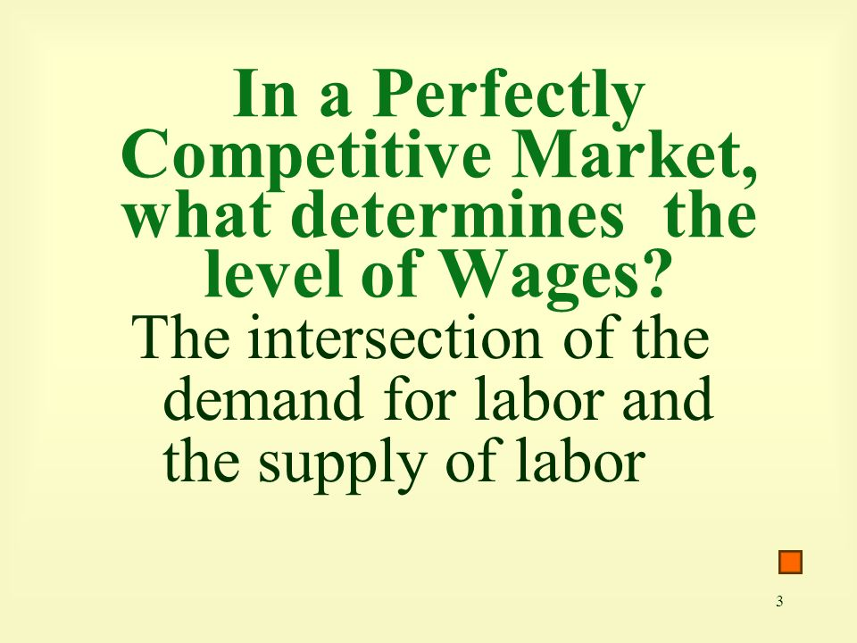 3 In a Perfectly Competitive Market, what determines the level of Wages.