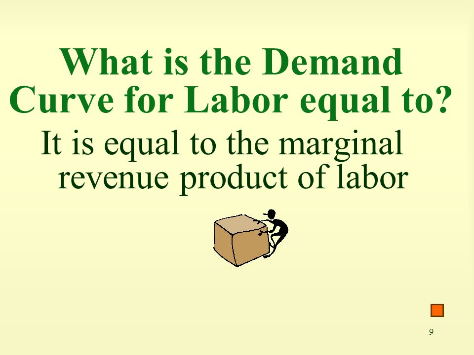 9 What is the Demand Curve for Labor equal to? It is equal to the marginal revenue product of labor