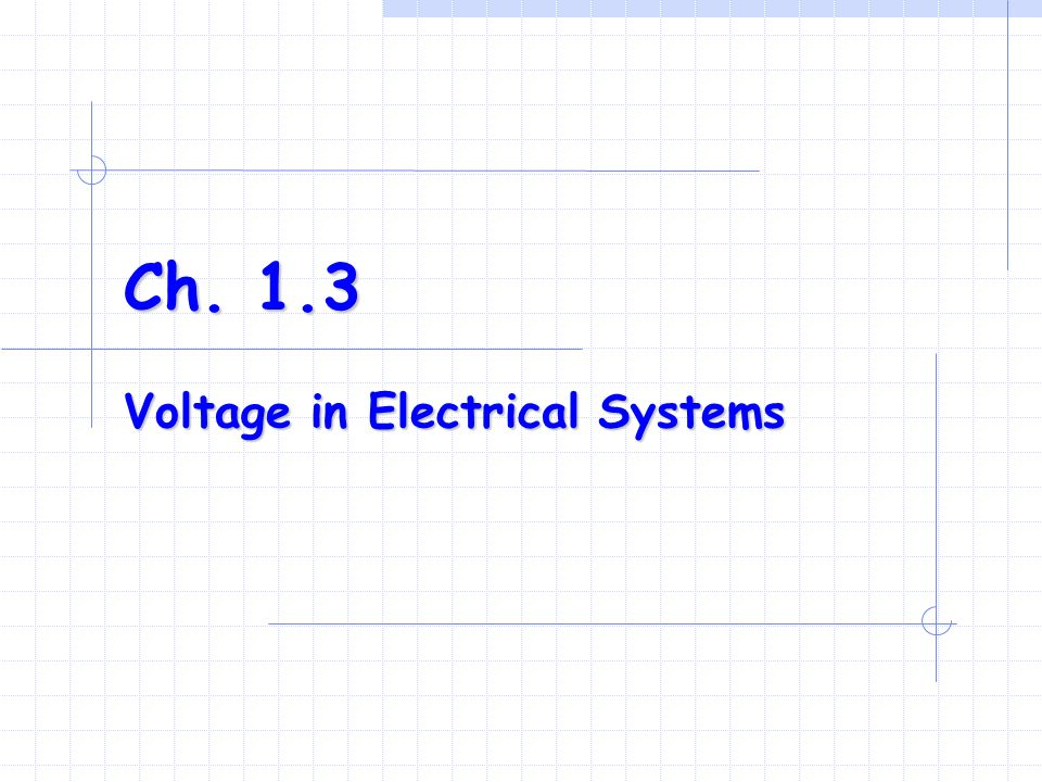 Ch. 1.3 Voltage in Electrical Systems