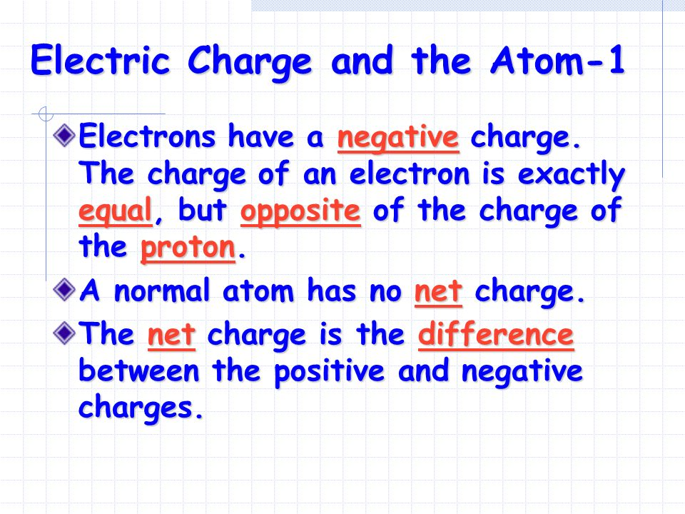 Electric Charge and the Atom-1 Electrons have a negative charge.
