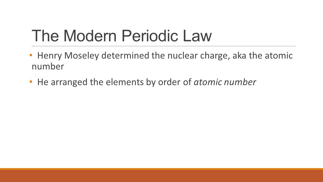 Periodicity chemistry 11 ms mcgrath the first periodic law 3 the modern periodic law henry moseley determined the nuclear charge aka the atomic number he arranged the elements by order of atomic number gamestrikefo Choice Image