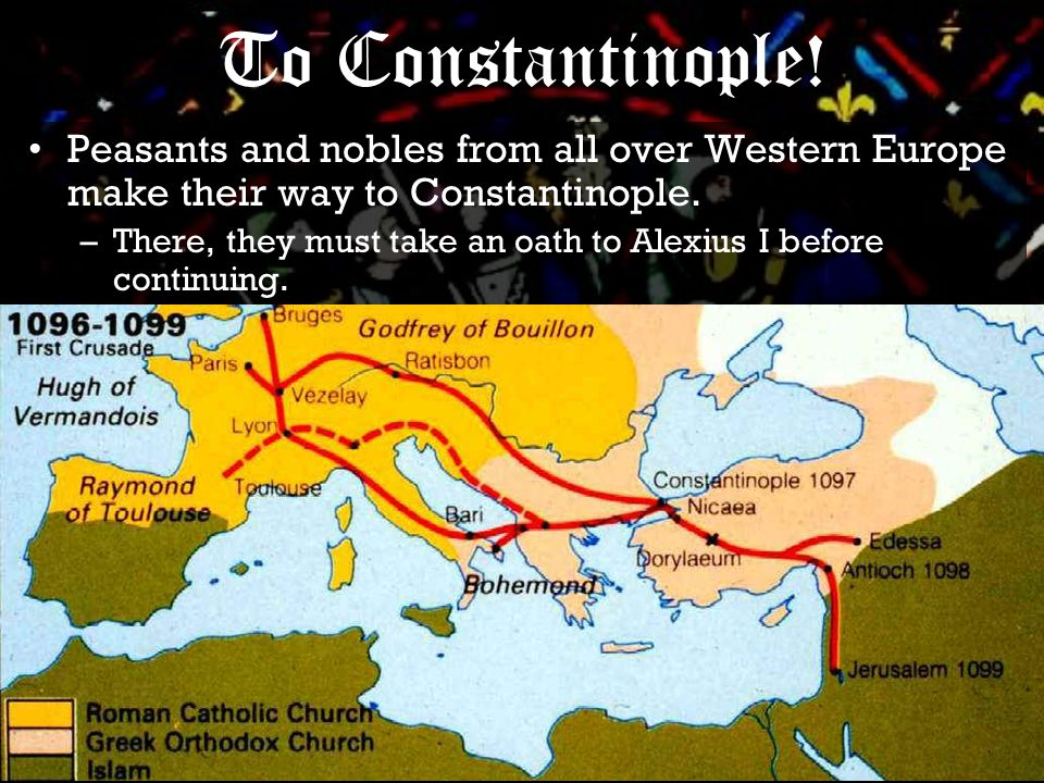 Peasants and nobles from all over Western Europe make their way to Constantinople.