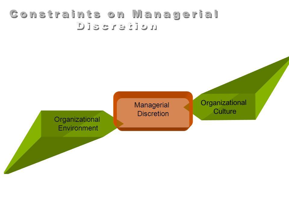 Organizational Environment Organizational Culture Managerial Discretion