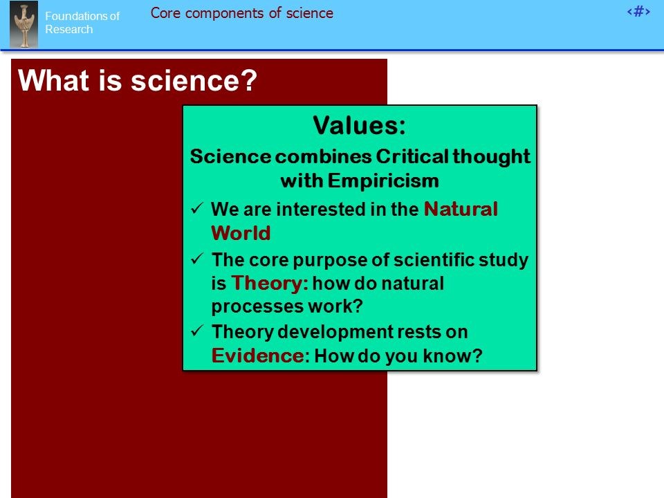 Foundations of Research 3 Core components of science What is science.