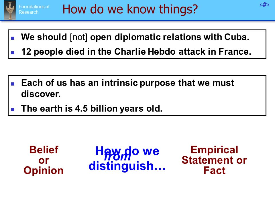 Foundations of Research 30 How do we know things.