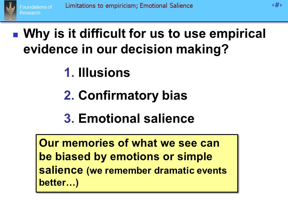 Foundations of Research 81 Limitations to empiricism; Emotional Salience 1.Illusions 2.Confirmatory bias 3.Emotional salience 4.Spurious correlations 5.Naïve empiricism Why is it difficult for us to use empirical evidence in our decision making.