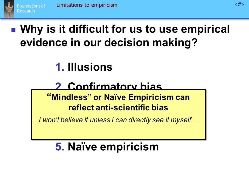 Foundations of Research 85 Limitations to empiricism 1.Illusions 2.Confirmatory bias 3.Emotional salience 4.Spurious correlations 5.Naïve empiricism Why is it difficult for us to use empirical evidence in our decision making.