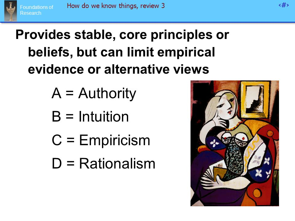Foundations of Research 94 How do we know things, review 3 Provides stable, core principles or beliefs, but can limit empirical evidence or alternative views A = Authority B = Intuition C = Empiricism D = Rationalism