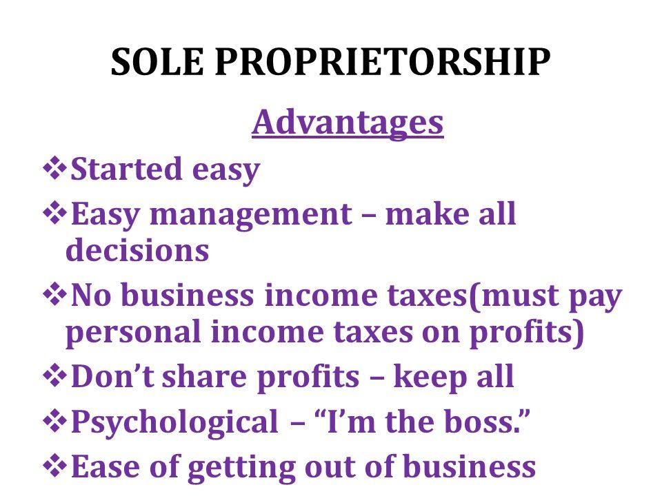 SOLE PROPRIETORSHIP Description  Owned by one person  Most ...