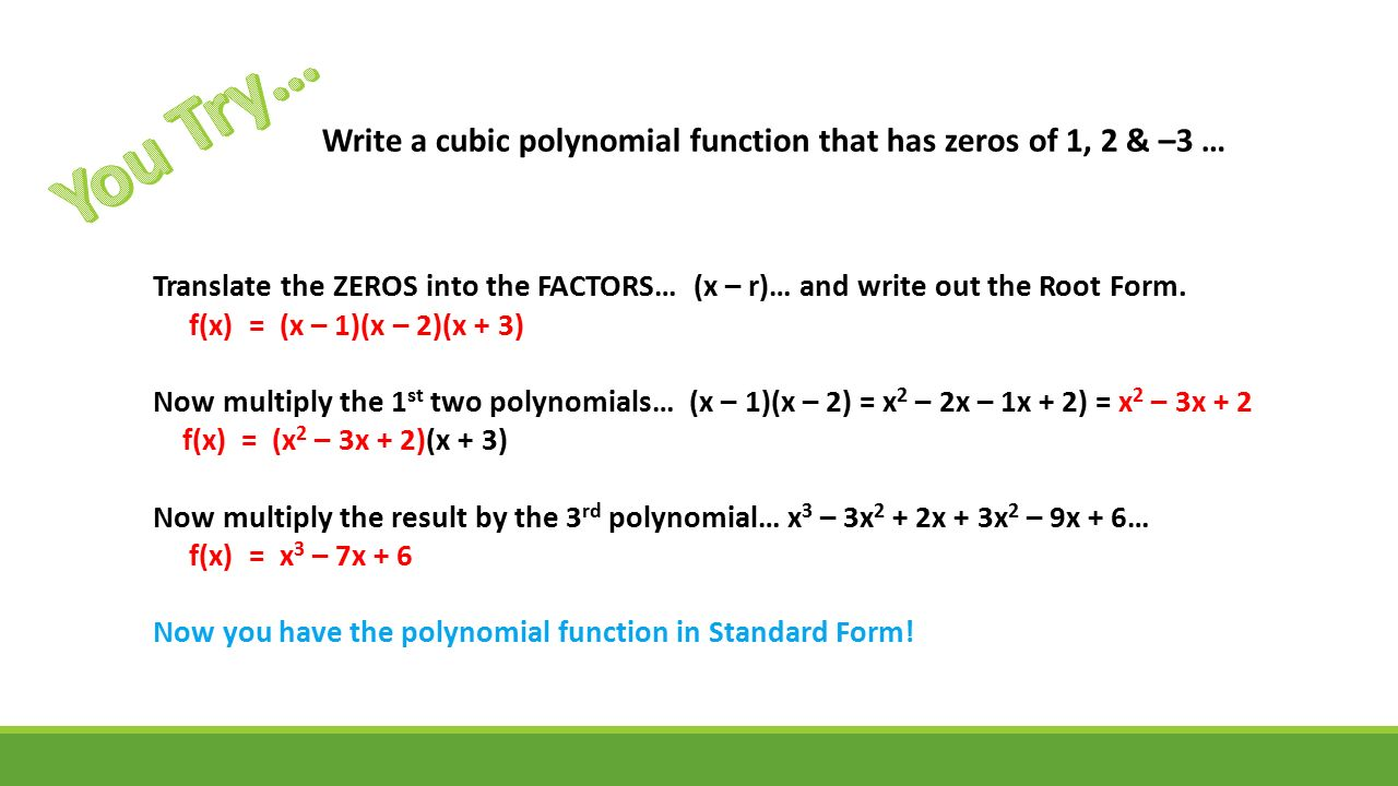 Introduction to polynomials sections 8 1 8 3 pearson text pp 32 write a cubic polynomial function falaconquin