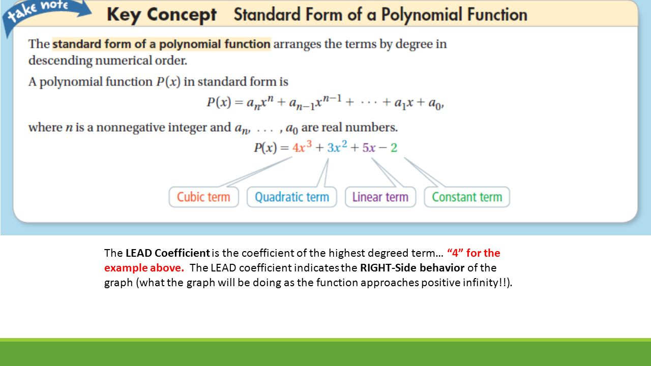 Introduction to polynomials sections 8 1 8 3 pearson text pp the lead coefficient is the coefficient of the highest degreed term 4 for the example falaconquin