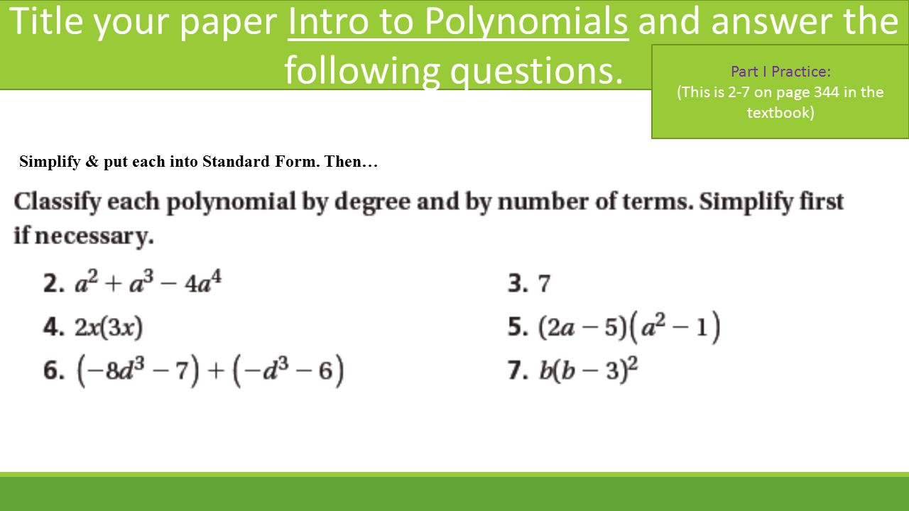Introduction to polynomials sections 8 1 8 3 pearson text pp 8 title falaconquin