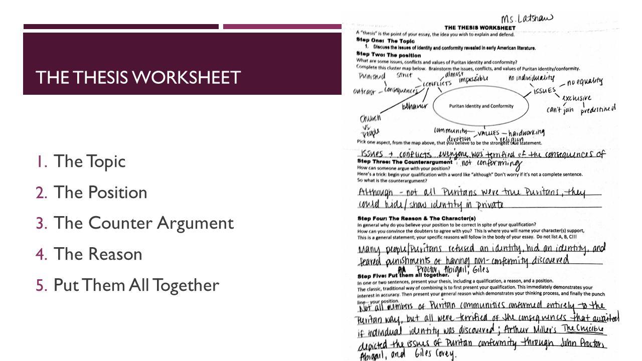 identifying thesis statement worksheet download