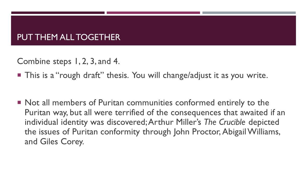 rough draft puritans essay