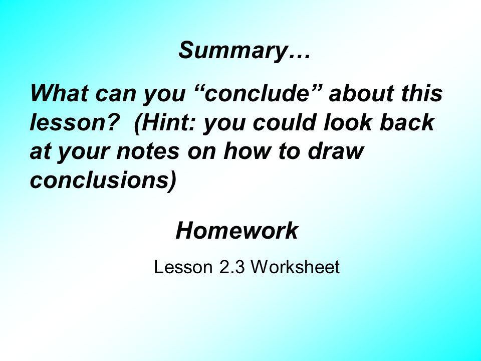 Lesson 23 Drawing Conclusions Objective After studying this – Drawing Conclusions Worksheet
