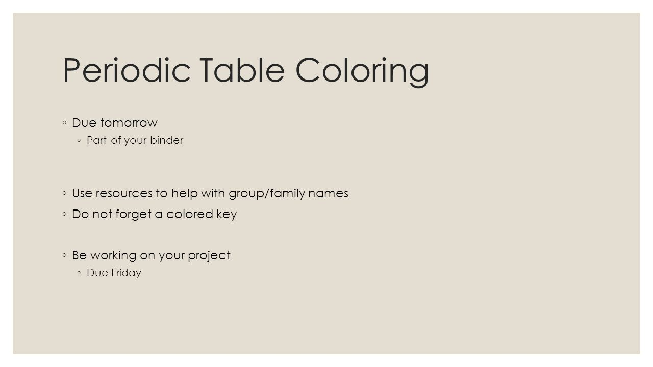 Periodic law opener copy the question and answers how many 6 periodic table coloring due tomorrow part of your binder use resources to help with groupfamily names do not forget a colored key be gamestrikefo Images