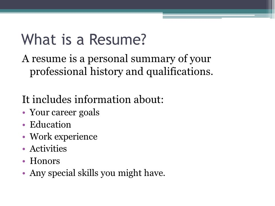 what is resumes