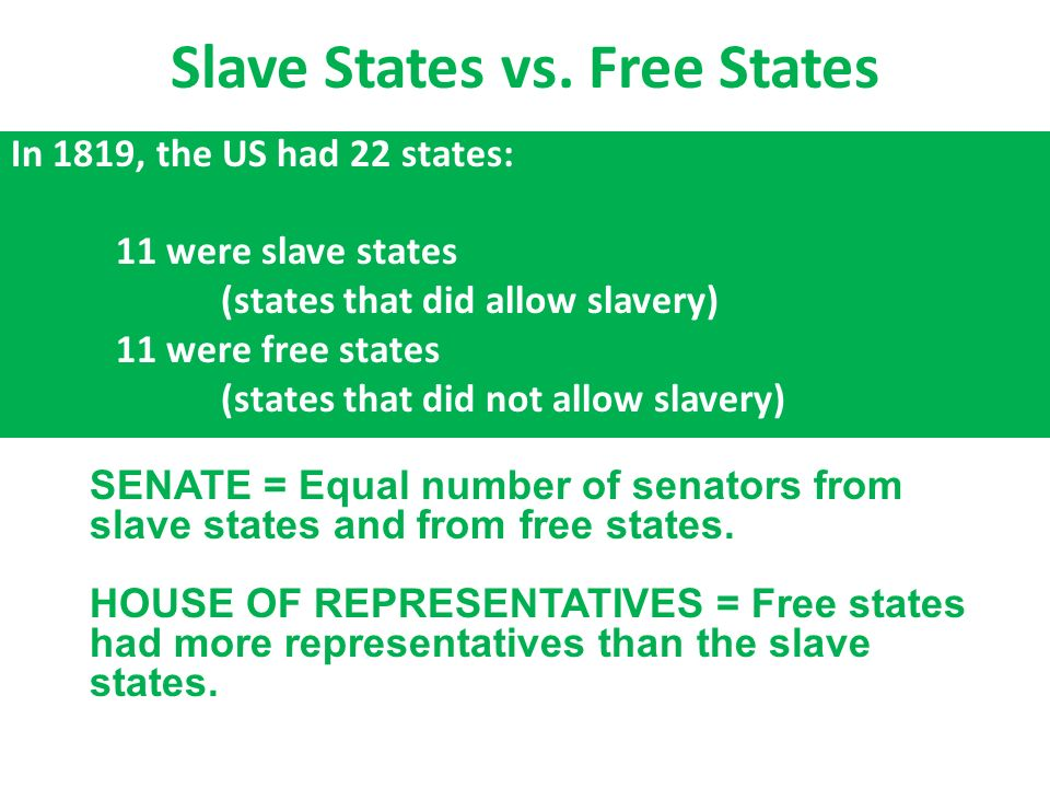 Slave States Vs Free States In The US Had States - 1819 map of us free and slave states