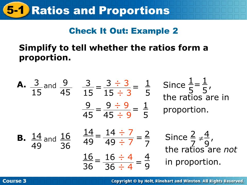 Course Ratios and Proportions 5-1 Ratios and Proportions Course 3 ...