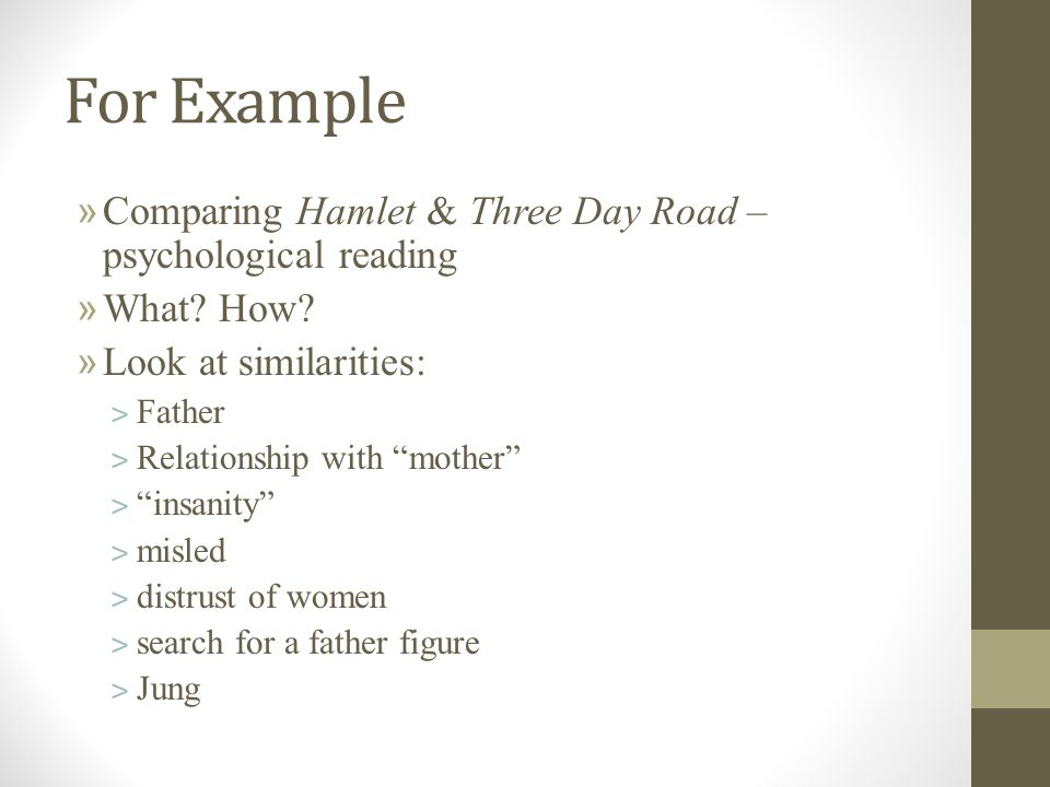 your isu thesis and outline different ways of reading you could  for example comparing hamlet three day road psychological reading what