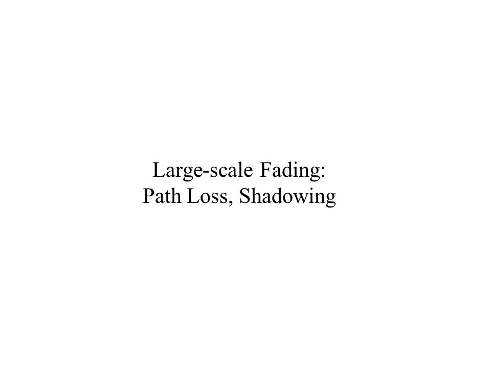 Large-scale Fading: Path Loss, Shadowing