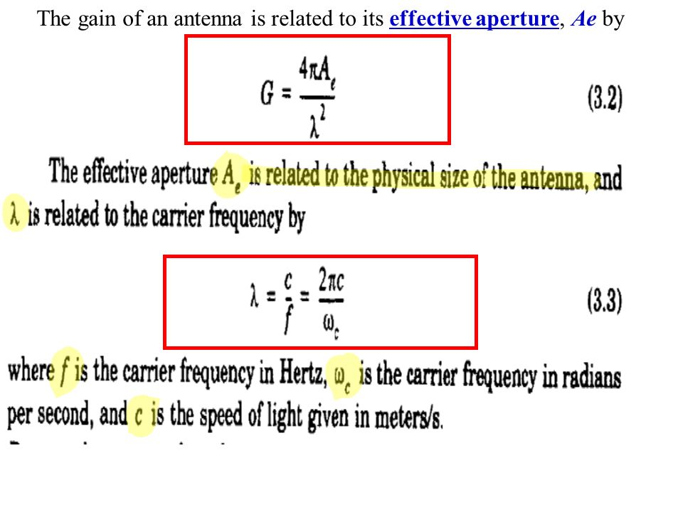 The gain of an antenna is related to its effective aperture, Ae by