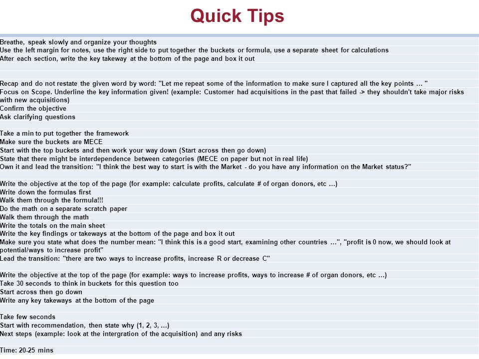 case interview use a proven approach leader 2 6 quick - Case Interview Examples Case Interview Questions