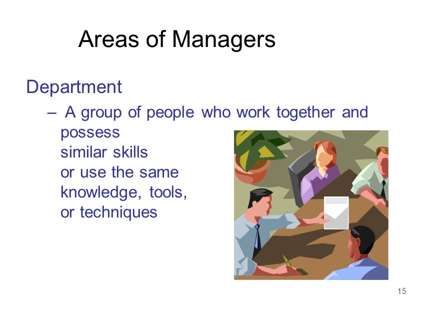 15 Areas of Managers Department – A group of people who work together and possess similar skills or use the same knowledge, tools, or techniques