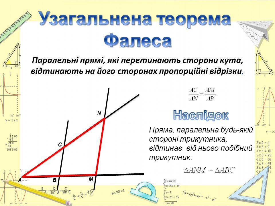 Паралельні прямі, які перетинають сторони кута, відтинають на його сторонах пропорційні відрізки. Пряма, паралельна будь-якій стороні трикутника, відт