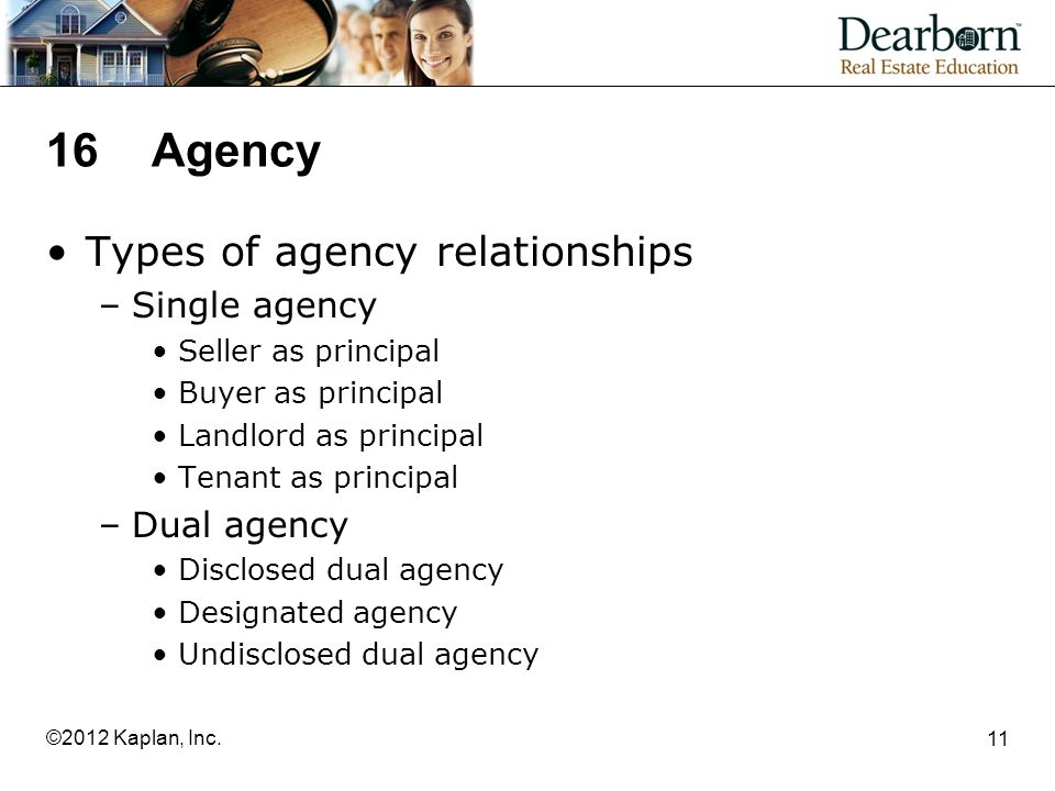 16Agency Types of agency relationships –Single agency Seller as principal Buyer as principal Landlord as principal Tenant as principal –Dual agency Disclosed dual agency Designated agency Undisclosed dual agency 11 ©2012 Kaplan, Inc.